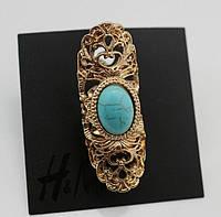 Стильное позолоченное женское кольцо с бирюзовым камнем от H&M