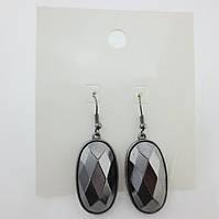 Стильные серебристые женские серьги овальной формы темно-серого цвета от H&M