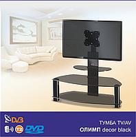 Тумба из стекла под телевизор с кронштейном Олимп Decor Black (1050х420х1050)