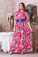 Длинное платье в пол цветочный принт Цвета р.44-46