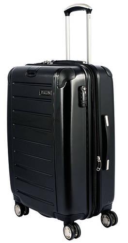 Средний 4-колесный чемодан из поликарбоната 70/90 л. PUCCINI PC016 8852/1 черный