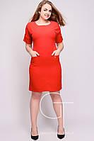 Лаконичное платье миди длины из мягкого крепа Большие размеры