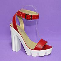 Босоножки женские  на высоком каблуке, натуральная кожа красного цвета, фото 1