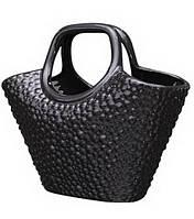 Декор сумка ваза керамическая черная.