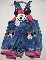 Детский джинсовый комбинезон для девочки Минни Маус Размер 0 - 2 года