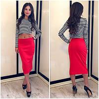 Костюм топ+юбка морячка с красной юбкой