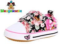 Кеды детские Шалунишка текстильные в цветочках с бантиком для девочки