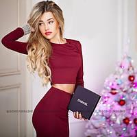 Костюм кофта+юбка миди бордо(марсал)