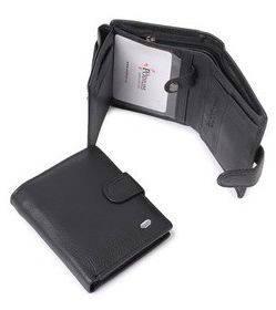 Кожаный стильный мужской бумажник dr.Bond M32 black черный