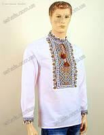 Мужская  вышитая сорочка крестиком в коричневых тонах бязь