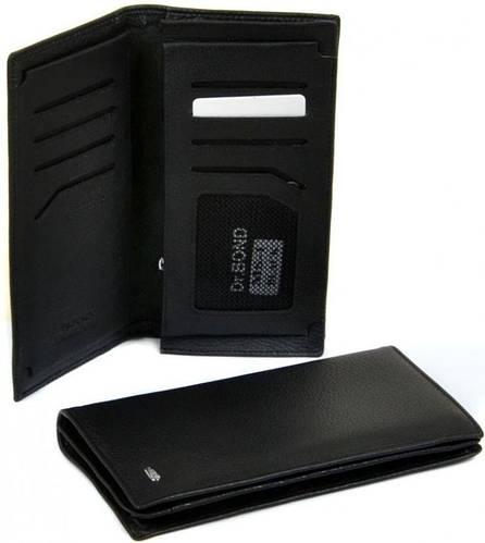 Вертикальное кожаное мужское портмоне dr.Bond MS-1 black черный