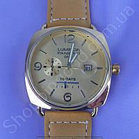 Часы Panerai Luminor GMT 10 Days B154 мужские с календарем золотистые на ремешке из искусственной кожи