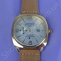 Часы Panerai Luminor GMT 10 Days B154 мужские с календарем золотистые с серебристым циферблатом на ремешке
