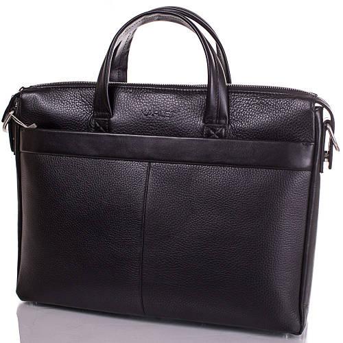 Вместительный мужской портфель с отделением для ноутбука из натуральной кожи KARLET SHI5709-2FL черный