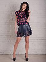Кожанная юбка с перфорацией