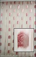 Тюль на окна белая с красным оттиском