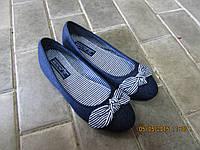 Джинсовые балетки Белста с бантиком синие
