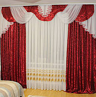 Комплект штор с ламбрекеном №241 3м Дана красный