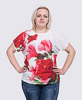 Летняя футболка больших размеров Цветы