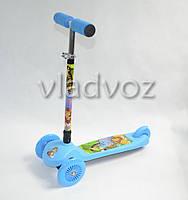 Самокат 4kids Scooter ручка регулируется голубой от 3-х лет