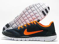 Кроссовки мужские Nike Free Run 3.0 темно-синие с оранжевым (найк фри ран)