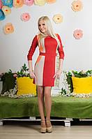 Платье комбинированное терракот, фото 1