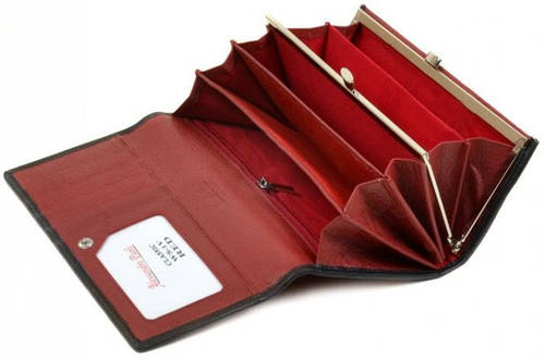 Эффектный кожаный женский кошелек Alessandro Paoli  WS-1-V red красный