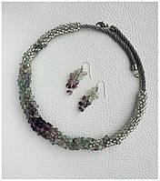 Комплект из флюорита, колье и серёжки BD2506