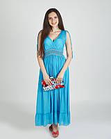 Стильный модный  легкий  макси сарафан, бирюзовый