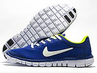 Кроссовки мужские Nike Free Run 3.0 синие с желтым (найк фри ран)