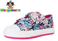 Кеды детские Шалунишка текстильные светлые в цветочках для девочки