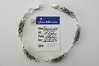 Оригинальный серебряный браслет с чернеными вставками