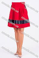 Юбка женская полусолнце с кожаными вставками, бордового цвета  Амина