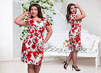 Женское платье в цветы, ткань коттон. Размеры 52,54,56,58,60 . В наличии 2 цвета