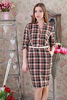 Платье деловое коричневая клетка р.48-52 Yam184.4
