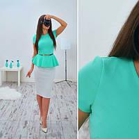 Блузка стильная модная c баской и поясом в разных цветах SRB59