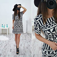 Платье модное стильное мини с этническим принтом разные узоры SMB133