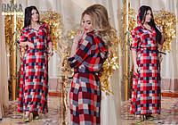 Длинное платье рубашка в клетку 50-52 размер