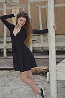 Платье трикотажное с юбкой-солнце  черное