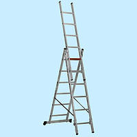 Универсальная лестница трехсекционная алюминиевая VIRASTAR 3x14 ступеней (9.7 м)