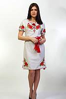 """Женская вышитое платье """"Зоряна лен"""" короткий рукав"""