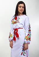 """Женская вышитое платье """"Диана лен"""" длинный рукав"""