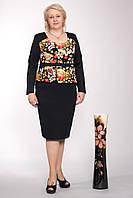 Платье повседневное с баской баталл