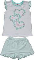 Пижама летняя для девочки, футболка и шортики, рост 98 см, 110 см, 116 см, Фламинго