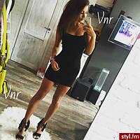 Молодежное платье майка мини черная