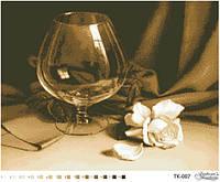Барвиста Вишиванка ТК-007 Пустой бокал в бежевом фоне, схема для вышивания бисером