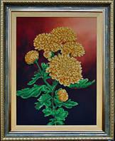 Картины бисером Р-082 Ветка желтых хризантем, набор для вышивания бисером