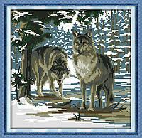NKF D591 Волки, набор для вышивания нитками с печатью
