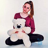 Мягкая игрушка Плюшевый медведь Бублик 70 см (персиковый)