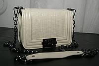 Клатч женский Chanel Le Boy (Шанель Бой), рептилия, кремовый, маленький